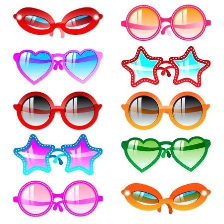 sunglasses reflection: Sunglasses icon set