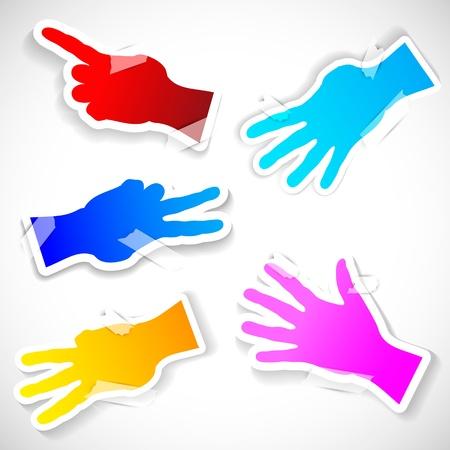 Five Paper stickers of raised hands  Stock Vector - 13995626