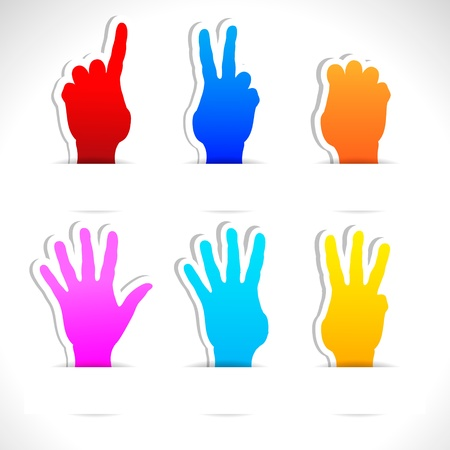 Paper stickers of color hands  Stock Vector - 13995615