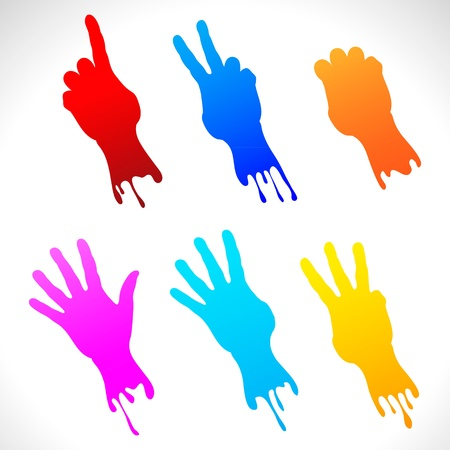 Paper stickers of painted hands Stock Vector - 13995613