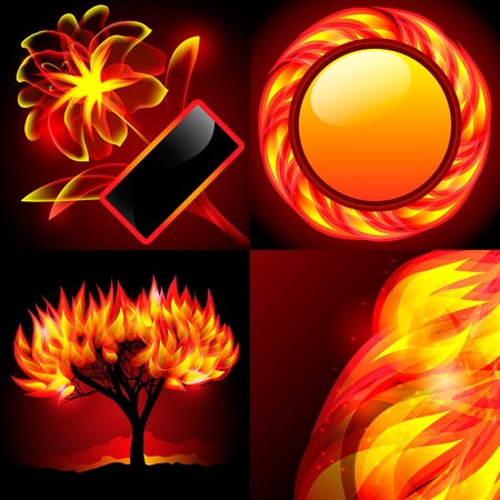 Four abstract flame backgrounds Illustration