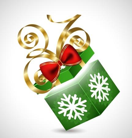 Caja de regalo con arco aislado en blanco