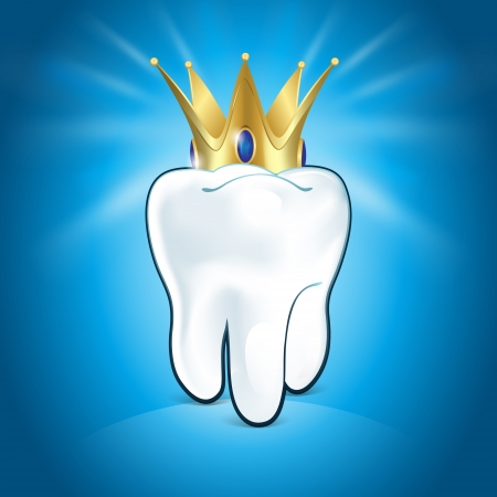 carious: Tooth In Golden Crown, On Blue Background