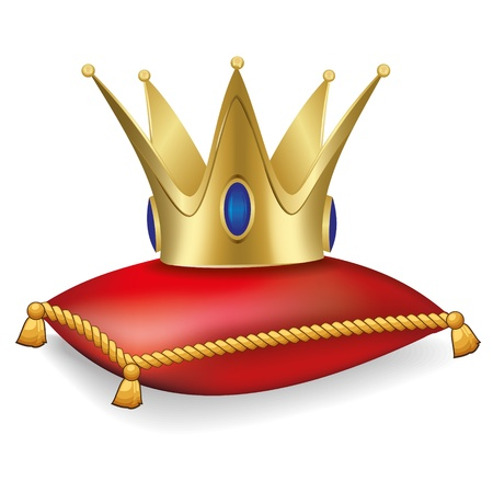 Royal crown on the pillow with tassels Illustration