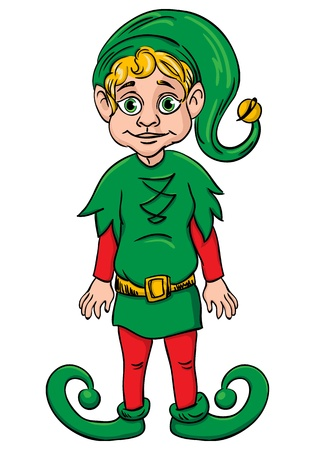 santa s elf: Elf  Santa s helper, wearing green suit Illustration
