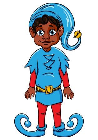 santa s helper: Elf  Santa s helper, wearing blue suit