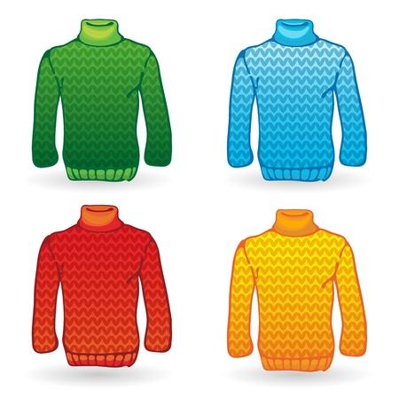 Quatre icônes sur fond blanc Pull à tricoter