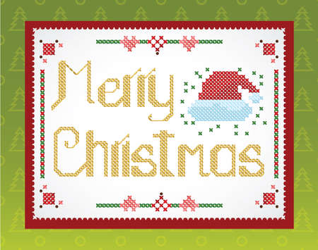 Cross-stitch Christmas  greeting on the wall Stock Vector - 16169330