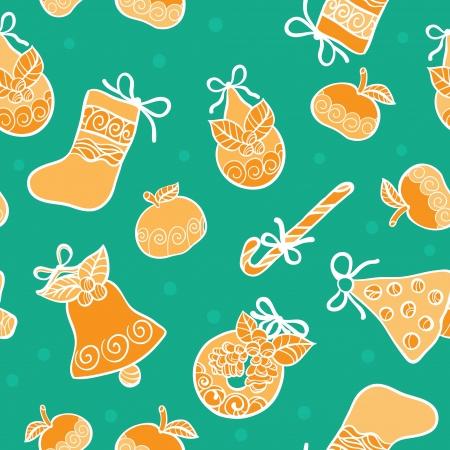 dekor: Christmas seamless green vector background
