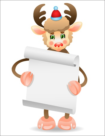 Funny deer with a border for text Stock Vector - 16169334