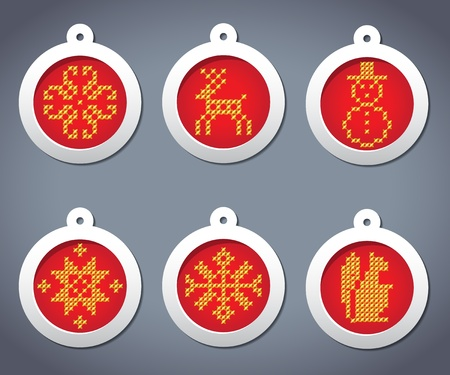 set of embroidered with New Year balls Vector