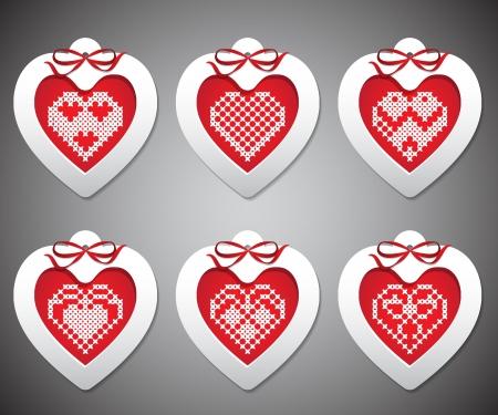 conjunto de bordado con corazones de A�o Nuevo
