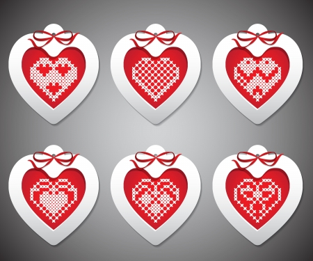 set of embroidered with New Year hearts Vector