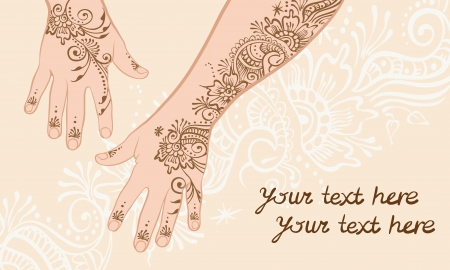 Henna hands painted with a pattern on a beige background Vector
