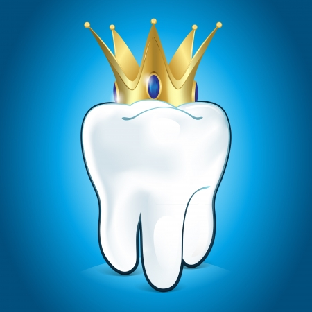 cavity: Tooth In Golden Crown, On Blue Background