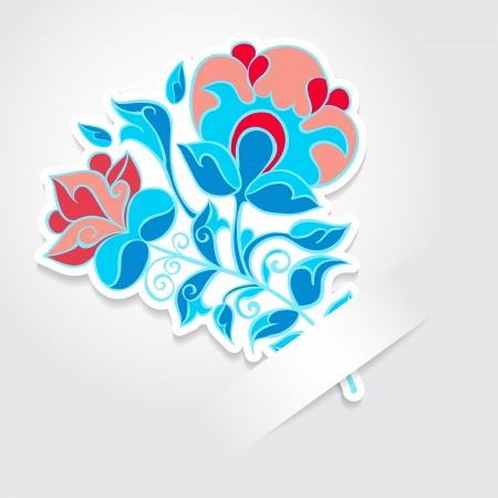 Cartoon flower sticker with text place Stock Vector - 16290147