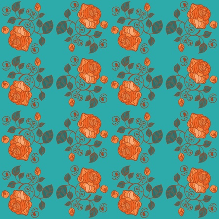 Seamless blue wallpaper pattern with roses Stock Vector - 16430240