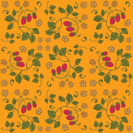 Yellow strawberry seamless background