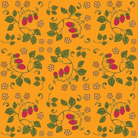 Yellow strawberry seamless background