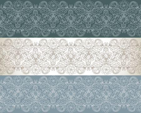 Set of three seamless floral pattern Vector
