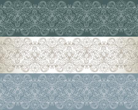 Set of three seamless floral pattern