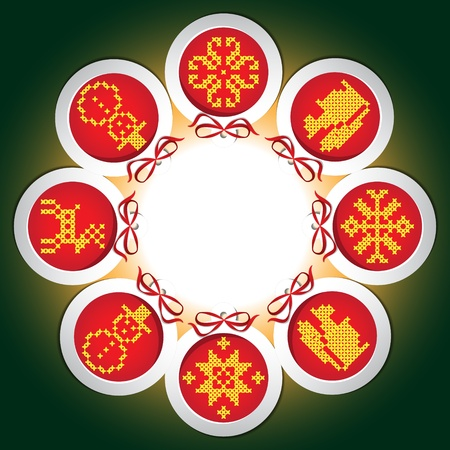 Frame of embroidered with New Year balls Stock Vector - 16580112