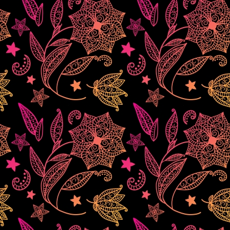 Black floral background with indian ornament Vector