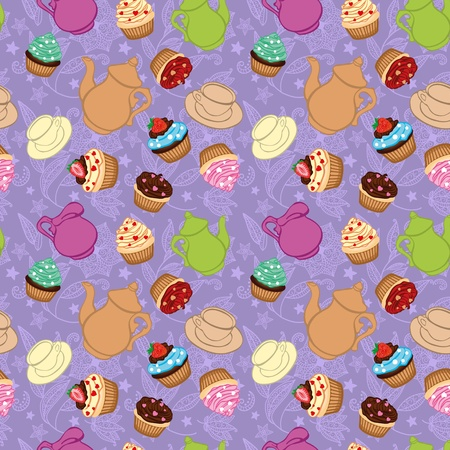 Tea violet background  with cupcakes Vector