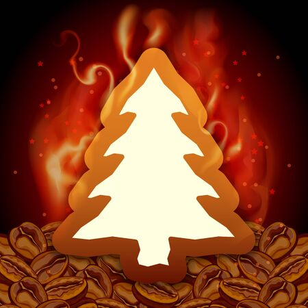 Red Christmas tree card  with coffee  Vector