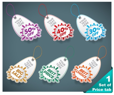 Set of six realistic winter price tags Vector