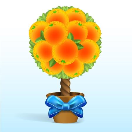 Orange tree with blue bow Stock Vector - 16808671