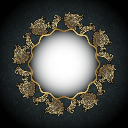 aguila real: Fondo círculo Vintage con flores de oro