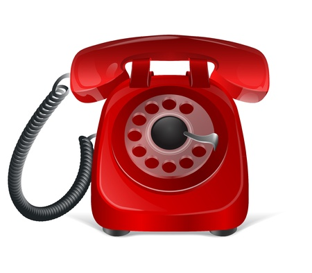 contactus: Red retro phone icon  Isolated on white