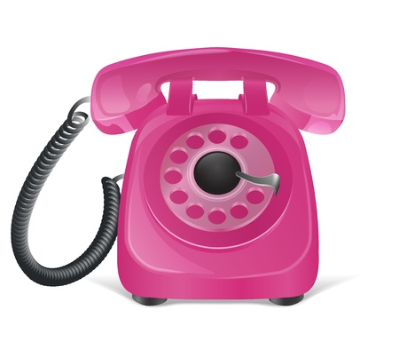 contactus: Pink retro phone icon  Isolated on white