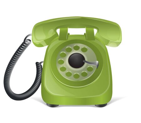 old telephone: Green retro phone icon  Isolated on white