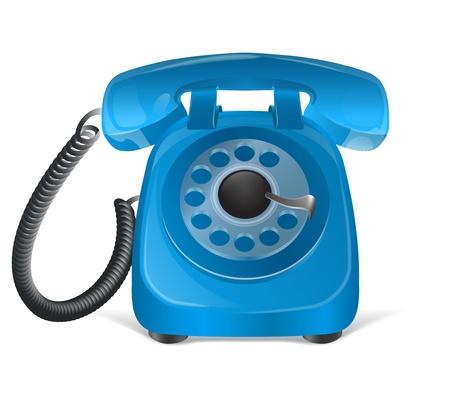phone number: Blue retro phone icon  Isolated on white Illustration