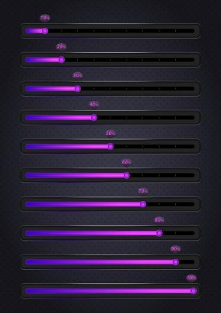 Glowing violet progress bars  10-100 Stock Vector - 16808612