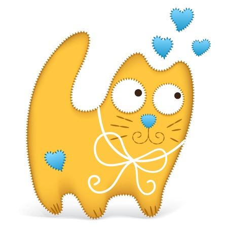 Almohada gato rojo con corazones azules