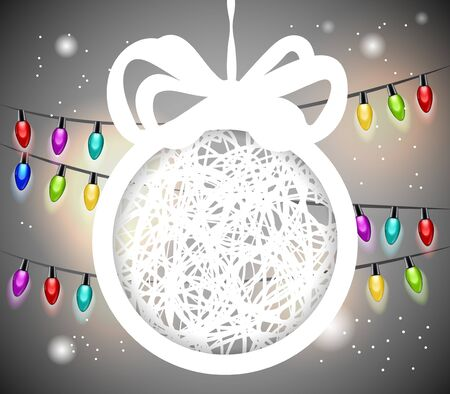 Christmas ball cut from paper on gray background   Vector