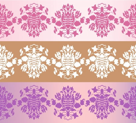 Three seamless floral borders Vector