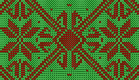 cotton wool: Red and green snowflake knitted background