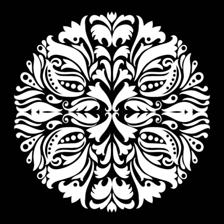 round: Black and white ornamental round lace