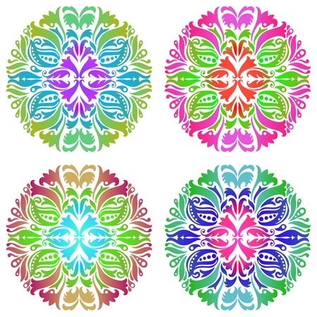 Set of four colorful ornament Vector