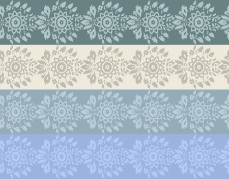 Four colore hand-drawn flower border  Vector
