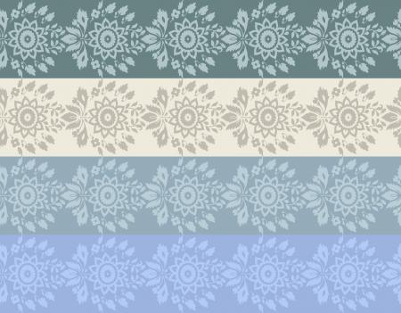 mhendi: Four colore hand-drawn flower border