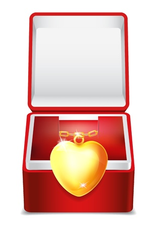 Gold heart in red velvet box Vector