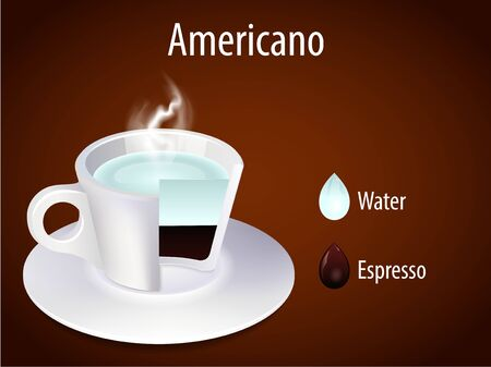 glass cup: Coffee cup  Americano Illustration