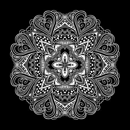 Black and white ornamental round lace Vector