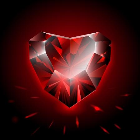 coeur diamant: En forme de coeur en diamant Illustration