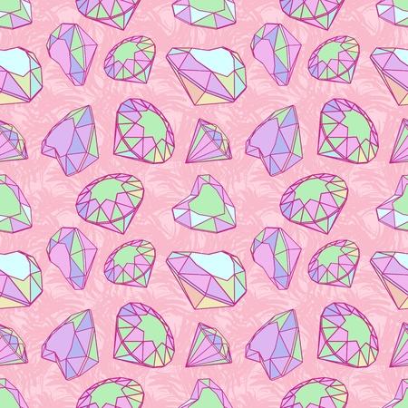 gemstone jewelry: Color diamonds seamless pattern